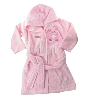 baby bademantel mit namen aus frottee rosa teddy. Black Bedroom Furniture Sets. Home Design Ideas